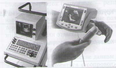 Общий вид стационарного (слева) и переносного ультразвуковых сканеров, используемых в ветеринарии